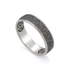 Кольцо православное из серебра и молитвой 'Господи, спаси и сохрани мя' КСЧ001-1