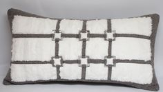 Taupe Tweed Pillow with White Faux Fur enhanced by AudassyDesign