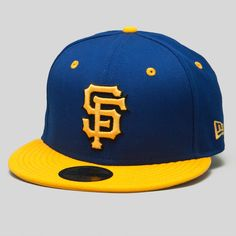 Authentic New Era 59FIFTY 100% Wool, Fitted Ball Cap in Royal & Gold