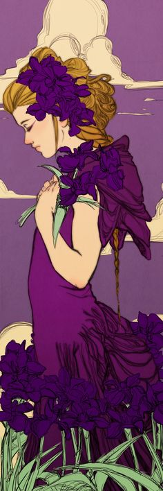Violet Iris Bookmark Revised by Newsha-Ghasemi on DeviantArt Art Nouveau, Purple Iris, Pin Up, Figurative Art, Female Art, Painting & Drawing, Amazing Art, Fantasy Art, Cool Art
