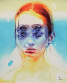"""My latest series is meant to initiate reactive responses to the external visual stimuli offered through the superposition of figurative elements and vivid colors."" –Alex Garant"