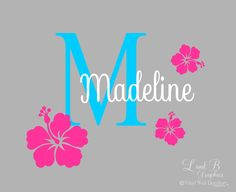 Flower Wall Decal- Hibiscus Flower Initial with Name- Girl Room Decor-Personalized Vinyl Wall Decor-Custom Name Monogram Preppy Hawaiian by landbgraphics on Etsy