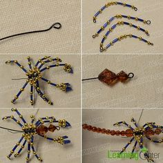 Home Decoration Craft - How to Make a Bead Scorpion Ornament Beaded Crafts, Beaded Ornaments, Wire Crafts, Jewelry Crafts, Beaded Bags, Beaded Jewelry, Jewellery, Beaded Dragonfly, Beaded Spiders