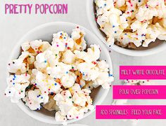 easy popcorn recipe with white chocolate and sprinkles // college cooking and recipes College Recipes, College Meals, Yummy Treats, Sweet Treats, Yummy Food, College Cooking, Popcorn Recipes, Stork, Perfect Party