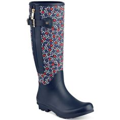 Tommy Hilfiger Mela Rain Boots (1.840 CZK) ❤ liked on Polyvore featuring shoes, boots, dark blue floral, zipper riding boots, zip boots, riding boots, wellington boots and floral-print boots