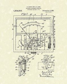 Electrical Meter 1919 Patent Art  This patent art print is based on an Electrical Meter patent from 1919. #patentart #electronics