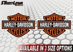 "2 Harley Davidson Shield 3""x4"" Motorcycle Vinyl Stickers"