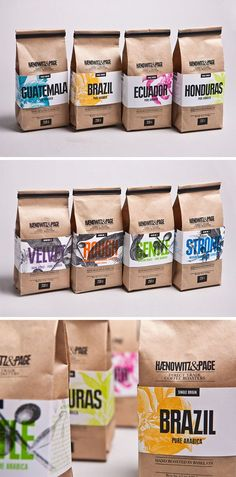 coffee design Ranging from simple minimalist designs to intricately detailed and colorful packages, here are 15 examples of creative coffee packaging that looks so good, the coffee probably tastes better. Spices Packaging, Food Packaging Design, Coffee Packaging, Coffee Branding, Packaging Design Inspiration, Brand Packaging, Packaging Ideas, Coffee Labels, Simple Packaging