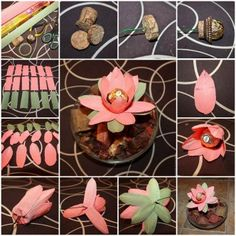 DIY Ferrero Rocher Lotus Flower Decoration Today I am going to feature another chocolate and flower Large Paper Flowers, Crepe Paper Flowers, Fabric Flowers, Candy Flowers, Diy Flowers, Flower Decorations, Chocolate Flowers, Chocolate Bouquet, Chocolates Ferrero Rocher