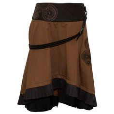 Brown Steampunk Skirt with a Belt and Clockwork Detailing