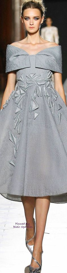 Tony Ward ~ Grey Embroidered Off the shoulder Cocktail Dress 2015