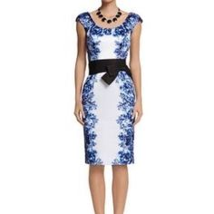 New Whbm Floral Sheath Dress With Belt