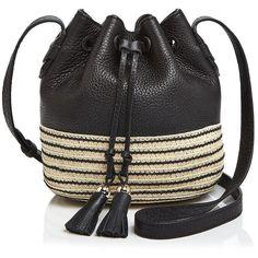 Rebecca Minkoff Mini Mansfield Bucket Bag (3.150.515 IDR) ❤ liked on Polyvore featuring bags, handbags, shoulder bags, black, leather handbags, genuine leather handbags, woven leather handbag, summer handbags and rebecca minkoff handbags