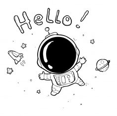 Discover thousands of Premium vectors available in AI and EPS formats Alien Drawings, Space Drawings, Easy Drawings, Astronaut Drawing, Astronaut Cartoon, Space Doodles, Doodle Art Drawing, Doodle Doodle, Cute Doodles