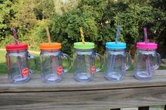 pPlastic mason jar with colorful lid and straw