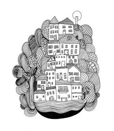 The Villas Fine Art Archival Print of Original Pen and Ink Drawing by Virginia Kraljevic Illustration Pen And Ink, Graphic Design Illustration, Doodles Zentangles, Zentangle Patterns, Ink Pen Drawings, Easy Drawings, Virginia, Doodle Coloring, Doodle Designs