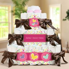 Playful Butterfly and Flowers Personalized Square - 3 Tier Diaper Cake
