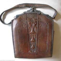 Antique Nouveau Deco Arts & Crafts Floral Hand Tool Leather JEMCO Purse 1921