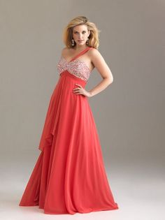 Coral Chiffon Beaded Sweetheart One Shoulder Empire Waist Prom Dress