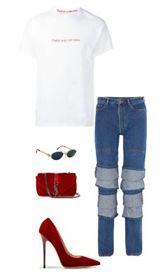 """""""Untitled #2508"""" by nava16 ❤ liked on Polyvore featuring Jimmy Choo, Yves Saint Laurent, Y/Project and Versace"""