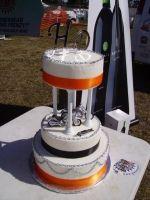 Wedding white and orange Harley Davidson Custom Cake in Florida