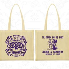 Till Death Do Us Part, Promotional Cotton Canvas Tote, Sugar Skull Bags, Day of the Dead Bags, Candy Skull Bags, Wedding Tote (597)