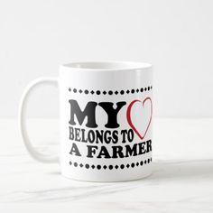My Heart Belongs to a Farmer Mug - girlfriend love couple gift idea unique cool