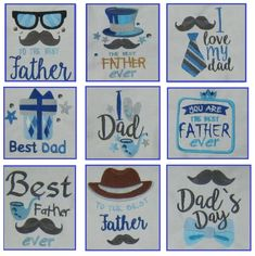 Fathers day Embroidery designs 9pc set by EmbroiderByMADELEINE on Etsy Embroidery Cards, Embroidery Designs, Father And Son, Fathers Day, Good Good Father, Best Dad, All Design, Marketing And Advertising, Handmade Items
