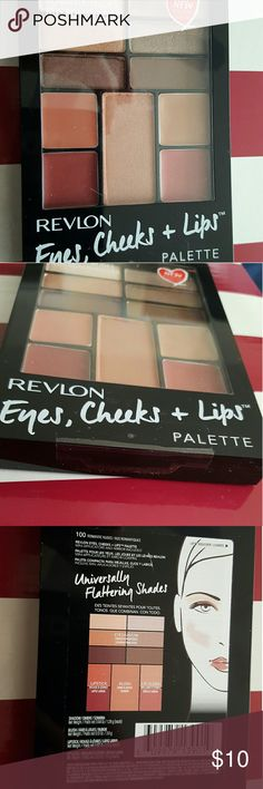 Revlon Eyes, Cheeks, + Lips palette Romantic Nudes- Create countless makeup looks with just one palette. Universally flattering shades of our best selling eyeshadow, blush and lipcolor. Revlon Makeup