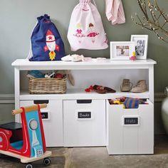 meuble rangement enfant cases avec et étiquettes ardoise pour écrire à la craie