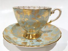 Luscious Tuscan Tea Cup and Saucer, Tea Set, Aqua Gold Cups, English Bone China Tea Cups, Antique Teacups, Tea Cups Antique, VogueTeam by AprilsLuxuries on Etsy