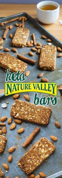 Low Carb Bars | Nature Valley Granola Bars! - KetoConnect Granola Barre, Keto Granola, Crunchy Granola, Keto Diet Drinks, Keto Snacks, Healthy Snacks, Protein Snacks, Diet Foods, Keto Desserts