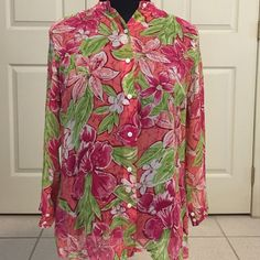 Laura Ashley silk shirt Laura Ashley spring print sheer shirt. Excellent condition. Button front and button detail on sleeves. Size medium. % silk Laura Ashley Tops Blouses