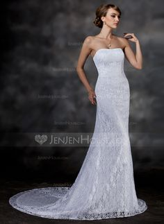 Wedding Dresses - $172.99 - Trumpet/Mermaid Sweetheart Chapel Train Lace Wedding Dress (002000513) http://jenjenhouse.com/Trumpet-Mermaid-Sweetheart-Chapel-Train-Lace-Wedding-Dress-002000513-g513