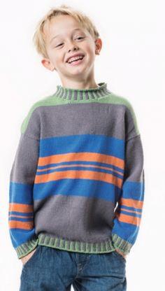 Strikkeopskrift   Strik drengesweater med striber   Strik til skolestart   Find mange strikke- og hækleopskrifter her   Håndarbejde