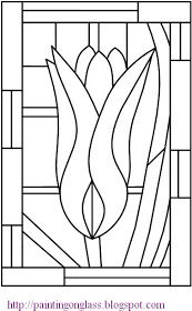 painting on glass: Free Stained Glass Pattern:Tulip