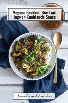 Perfekt für den Feierabend: meine vegane Brokkoli Bowl mit chinesischer Ingwer-Knoblauch-Sauce ist shcnell gemacht und schmeckt auch an heißen Sommertage. #vegan #veggie #vegetarisch #brokkoli #veganuary Good Food, Yummy Food, Recipe Boards, Diy Food, Delish, Vegan Recipes, Clean Eating, Germany, Vegetarian