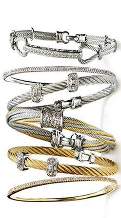 Charriol 'Classique' Square Diamond Station Stackble Bracelet