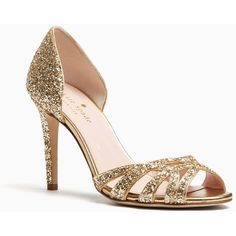 Kate Spade Idaya Heels ($298) ❤ liked on Polyvore featuring shoes, pumps, metallic pumps, going out shoes, glitter shoes, party shoes and glitter pumps