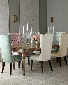 -6D5P John-Richard Collection  Annabelle Dining Table Pantages Dining Chair