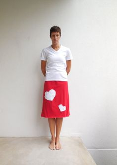Loving Hearts T Shirt Skirt / Valentine Red / White / Women / Knee Length / Cotton / Soft / Fashion / Fun / For Her / Spring / by ohzie