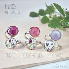 Real flower 3D ring. double ring with purple orchid and herbs. Pink flowers. Adjustable Ring. Flower ring. Botanical romantic gift for her by OneFlowerStory on Etsy