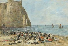 Washerwomen On The Beach Of Etretat by Eugene Boudin