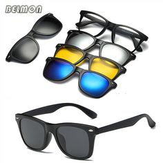 b6445a40f85590 Belmon Spectacle Frame Men Women With 4 Piece Clip On Polarized Sunglasses  Magnetic Glasses Male Driving Myopia Optical RS476