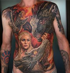 On his chest is also a cover up! Hope you like it and wish you all a nice sunday! Hot Tattoos, Life Tattoos, Tatuagem Game Of Thrones, Deanerys Targaryen, German Tattoo, Tattoo Henna, Full Back Tattoos, Work Images, Tattoo Equipment