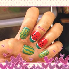 Video: Cooling off the hot summer - watermelon nails | chichicho~ nail art addicts