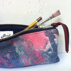 BACK TO SCHOOL. Upcycled Denim Pencilcase. Hand Painted Artist's Case. Recycled…