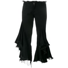 Marques'Almeida Marques'Almeida Frayed Ruffle Jeans ($444) ❤ liked on Polyvore featuring jeans, black, ruffle jeans, frayed skinny jeans, whiskered jeans, cropped frayed jeans and cropped jeans