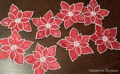 Glitter red Poinsettias for my Christmas cards using Apple Red Cosmic Shimmer Sparkle Texture Paste and Designs by Georgina Poinsettia and Holly Stencil.