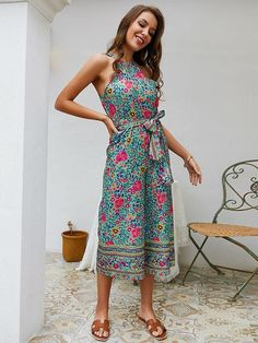 Casual Off Shoulder Tie-Wrap Floral Jumpsuit Halter Jumpsuit, Casual Jumpsuit, Floral Jumpsuit, Rompers Women, Jumpsuits For Women, Pullover, Wholesale Clothing, Fashion Pants, Unique Fashion